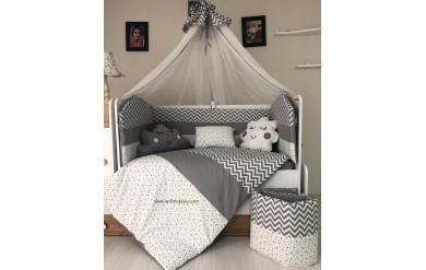Yıldız Gri Beyaz Uyku Seti Takımı