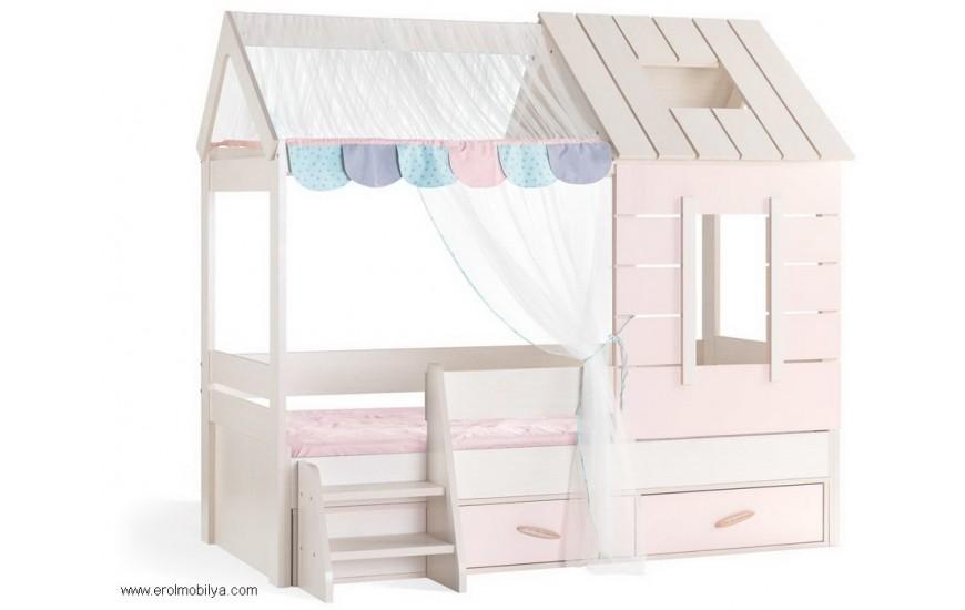 Pink House Çatılı Karyola